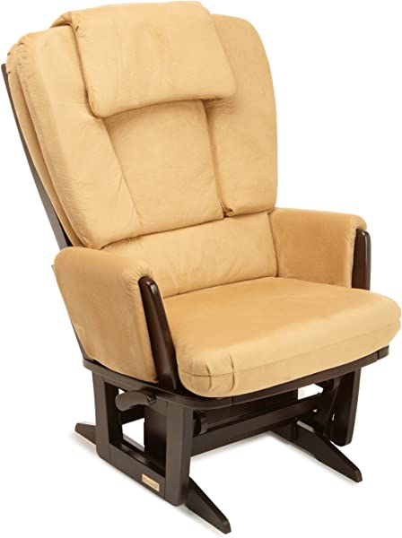Dutailier Modern 0436 Glider Chair With Built In Feeding Pillows Espresso Camel