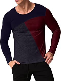 Men's Casual Slim Fit T Shirt Tee Long Sleeve V Neck Henley Shirts Undershirt Tops
