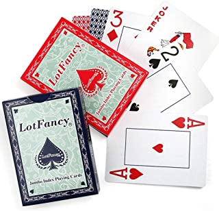 LotFancy Jumbo Index Playing Cards, 2 Decks of Cards, Large Print, Poker Size, for Texas Hold'em, Blackjack, Euchre Cards Games, Blue and Red