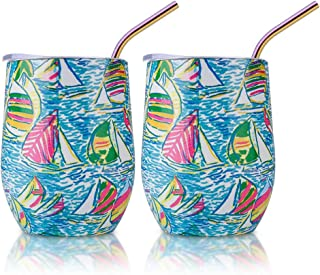 Insulated Wine Tumbler with Lid and Straws, 2 Pack 12 oz Stainless Steel Insulated Wine Glass,Stemless Wine Tumbler Unbreakable for Keeping Wine, Coffee, Drinks, Champagne, Cocktails (Sailboat)