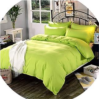 Perilla fire - 1 funda de edredón de mezcla de algodón de color sólido con impresión reactiva para cama individual, tamaño...