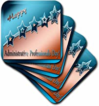 3dRose LLC cst_12179_1 Administrative Professionals Day Copper and Blue Soft Coasters, Set of 4