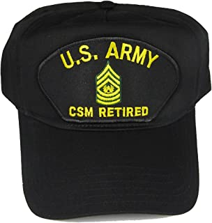 U S ARMY CSM RETIRED with COMMAND SERGEANT SERGEANT RANK INSIGNIA HAT - Black - Veteran Owned Business