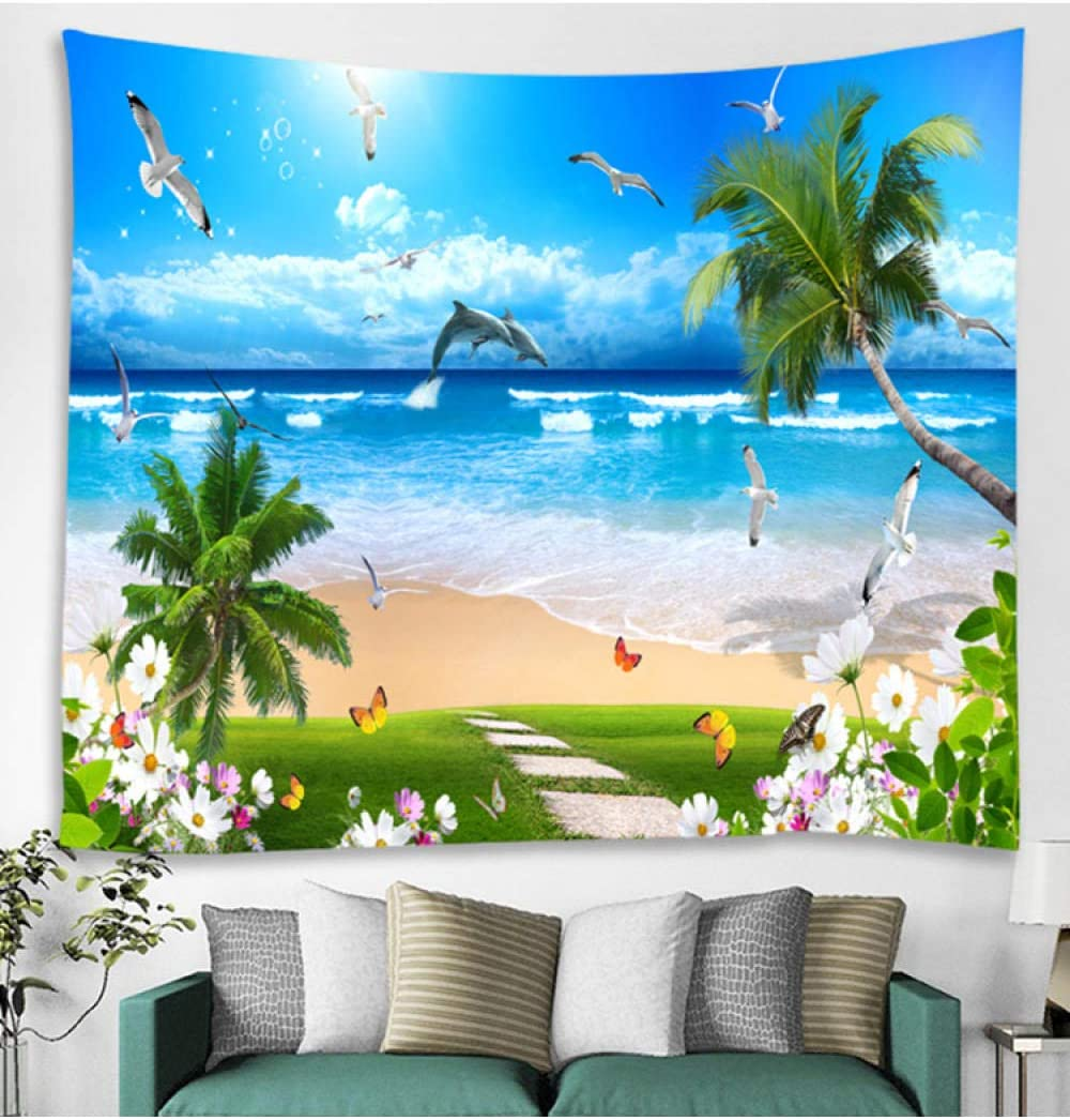Cheap Very popular LHHYY Hanging Tapestries Ocean Beach Is Tropical Nature Tapestry