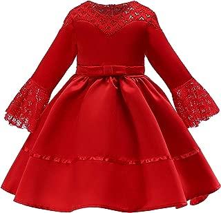 Xifamniy Infant Girls Half Sleeve Skirt Solid Color Lace Design Lacing Waist Tutu Dress Red