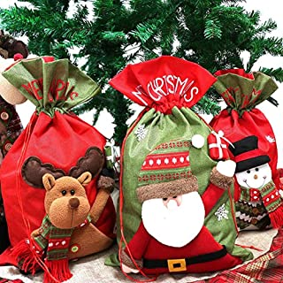 AoMoon 3 Xmas Gift Bags Santa Sack Drawstring Bags Candy Bags Treat Bags with Holiday for Christmas Decorations (Style-02, 22 x 13.8 Inch)
