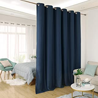 Deconovo Privacy Room Divider Curtain Thermal Insulated Blackout Curtains Screen Partition Room Darkening Panel for Shared Bedroom, 10ft Wide x 8ft Tall 1 Panel Navy Blue