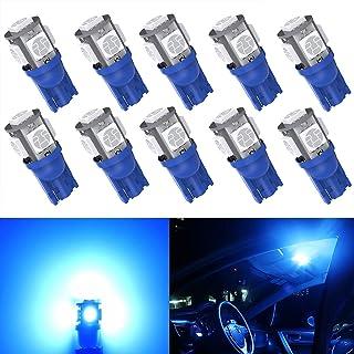 Kitchasy Led194 168 Bulb, 175 191 2821 2827 T10 Wedge Upgrade 5 SMD 5050 Chipset Blue Light for Car License Light, Interio...