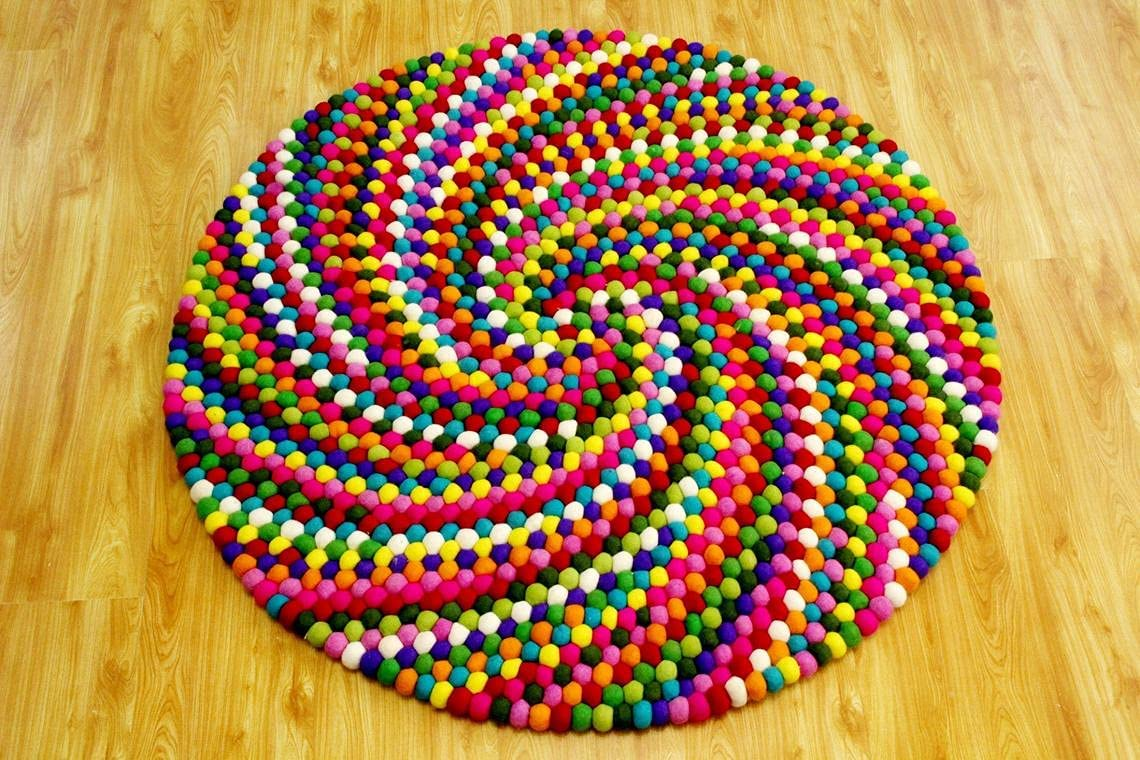 90 At the price cm Max 75% OFF to 300 Multicolor Felt Ball - Rug M Handmade