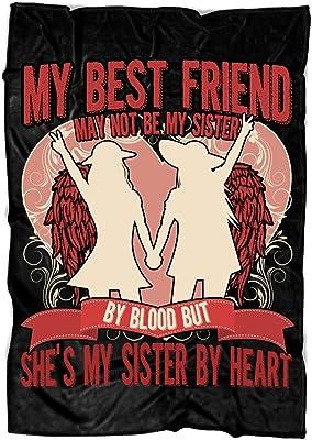 02f47549ea TUCSTORE My Best Friend Soft Fleece Throw Blanket, Sister Heart Fleece  Luxury Blanket (Large
