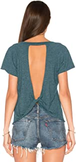 Women's Sexy Backless Short Sleeve Top Back Knot Casual Shirt Tee