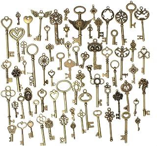 OUTERDO 69pcs Antique Bronze Vintage Skeleton Keys Charm Set DIY Handmade Accessories Necklace Pendants