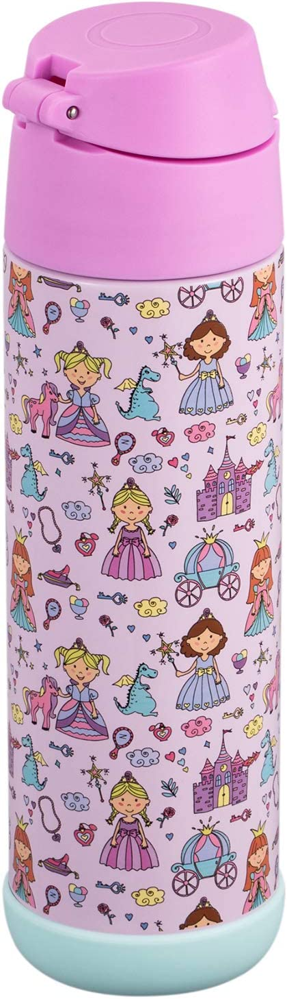 Snug Flask for Kids Space Wars, 12oz Vacuum Insulated Water Bottle with Straw