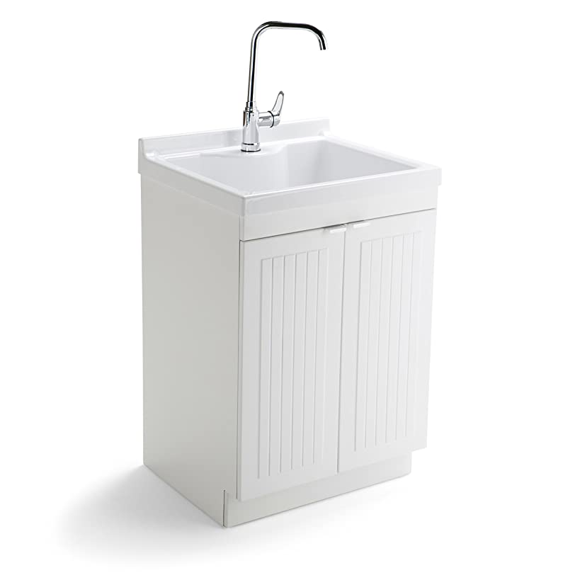 Simpli Home AXCLDYABS-24 Murphy Traditional 24 inch Laundry Cabinet with Faucet and ABS Sink