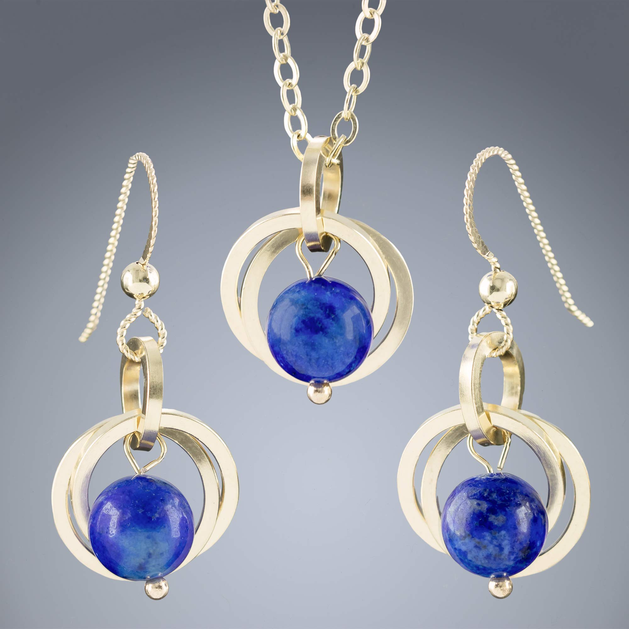 Lapis Lazuli 14K Gold Filled Gemstone Necklace and Earrings Set  Gift