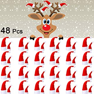 48 Pieces Mini Santa Hats, Mini Christmas Hats, Mini DIY Christmas Hat for Doll Crafts Decoration, Lollipop Candy Cover, Cup Bottles Cover Christmas Gift, Home Christmas Decoration