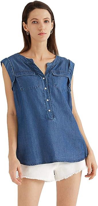 Escalier Mujer Bluas sin Mangas V Cuello Camisa Blouses Tunica Tank Sólido Color Tops