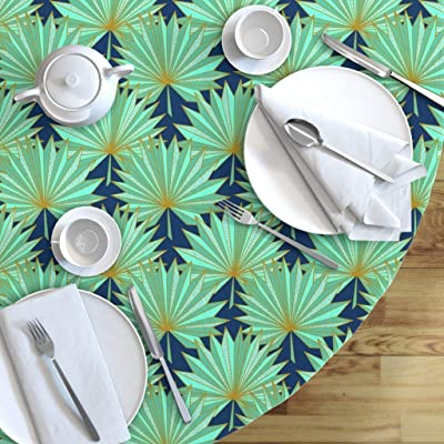 Geometric Cotton Sateen Circle Tablecloth by Spoonflower Retro Round Tablecloth Art Deco Risography by natalia/_gonzalez