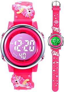 Toddler Kids Digital Watches,3D Cute Cartoon 7 Color Lights Waterproof Sport Electronic Wrist Watch with Alarm Stopwatch f...