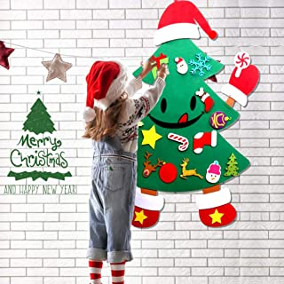 O-heart Upgraded DIY Felt Christmas Tree for Kids, Playful and Cute Hands and Feet Design, 3ft Christmas Tree + 30pcs Detachable Ornaments, Best Xmas Gifts Door Wall Hanging Decorations