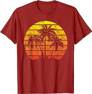 Retro Vintage sunset coco palm tree shirts tropical beach