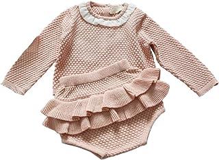Wennikids Baby Girls Long-Sleeved Cadigan Sweater and Ruffle Bloomer Shorts Clothing Set