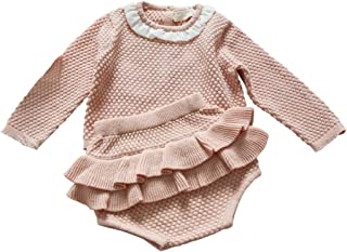 Wennikids Baby Girls Long-Sleeved Cadigan Sweater and Ruffle Bloomer Shorts Clothing Set