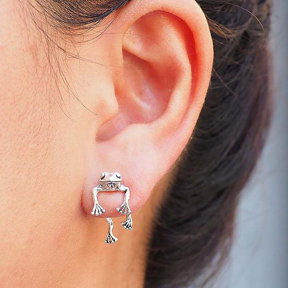 D-Rings Two Way Frog Earrings,Frosch Ohrstecker,Frog Vintage Animal Earring, Elegante Design Ohrringe Ohrklemme Ear-Cuff Frosch Silber Edelstahl, Frog Lover Jewelry Earrings (Silber-1 Paar)