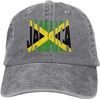 Unisex Baseball Cap Jamaica Text with Jamaican Flag Cotton Denim Flat Hat Adjustable Vintage Sports Cap