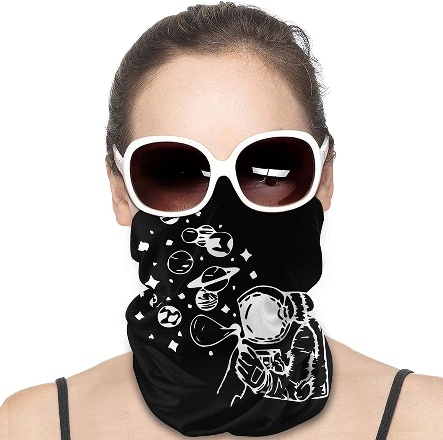 Astronaut Making Planet Soap Balloons Round Neck Gaiter Bandnas Face Cover Uv Protection Prevent bask in Ice Scarf Headbands Perfect for Motorcycle Cycling Running Festival Raves Outdoors
