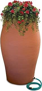 Emsco Group 2264-1 Rescue 85-Gallon Stoneware Urn Barrel – Includes Planter Rain Water Diverter, Outlet Hose – Terra Cotta
