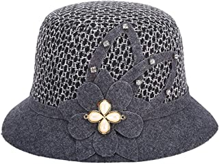 HongJie Hou Autumn and Winter New Middle-Aged Ladies hat Fashion hat Cap (Color : Grey, Size : M56-58cm)