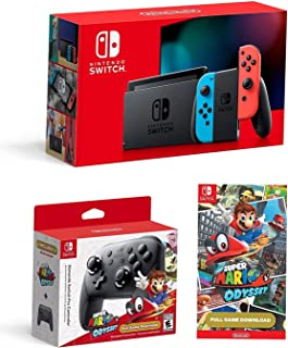 Nintendo Switch Bundle: Nintendo Switch Console Neon Red and Blue Joy-con, Nintendo Switch Pro Controller and Super Mario ...