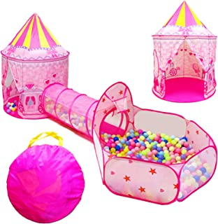 LOJETON 3pc Girls Princess Fairy Tale Castle Play Tent, Crawl Tunnel & Ball Pit with Basketball Hoop for Kids Toddlers, In...