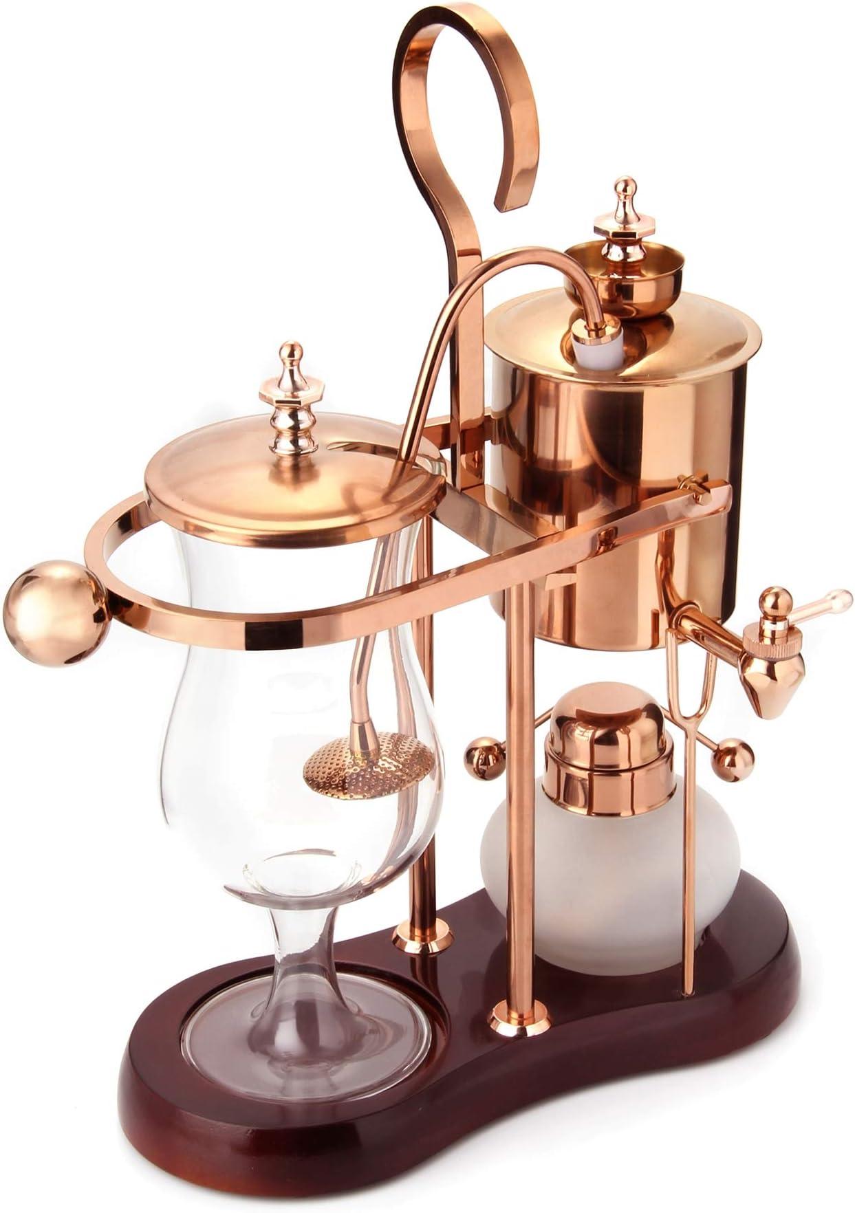 Diguo Belgian/Belgium Luxury Royal Family Balance Syphon Coffee Maker. Elegant Design Retro-Style (Polished Rose Gold)