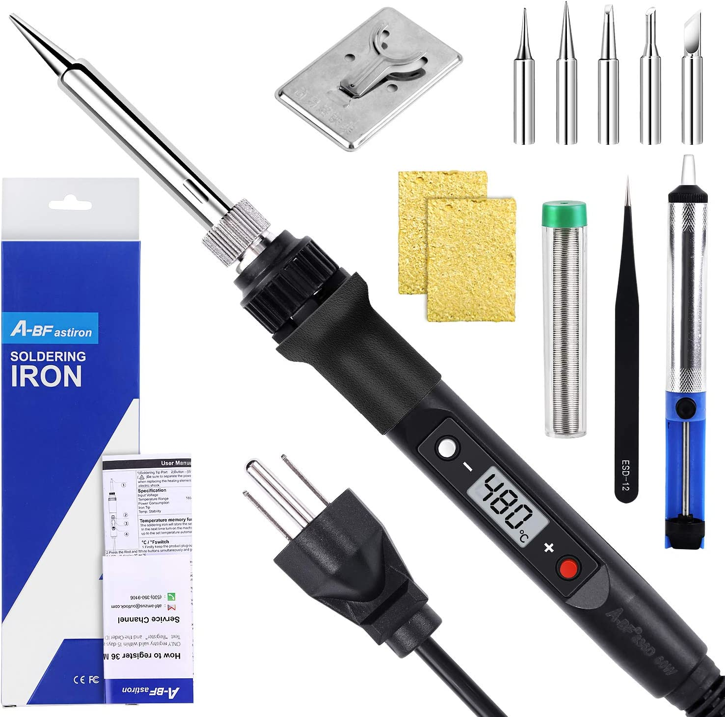 A-BFastiron Electronics Soldering Iron 80W Kit Super popular specialty store Import - 110V