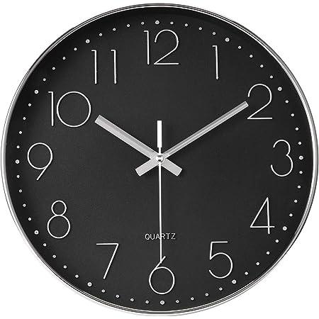 Elegance By Casa Chic Wall Clock 12 Inches 30 Cm Diameter Silent Quartz Mechanism Black Silver Amazon Co Uk Kitchen Home