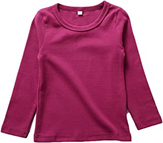 KISBINI Unisex Girls 100% Cotton Long Sleeve T-Shirt Top Tees