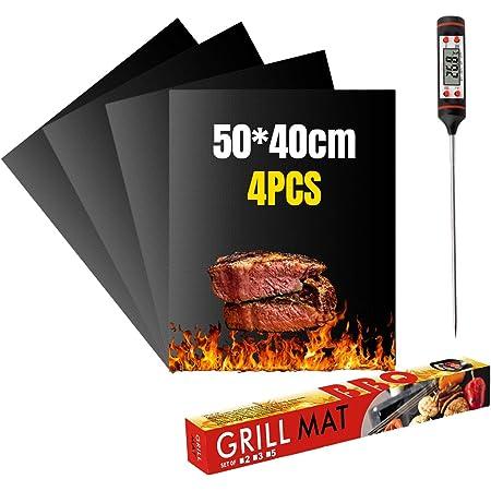 VLVEE Set de 4 Tapis de Cuisson Tapis BBQ Barbecue Plaque Feuille de Cuisson Four,Réutilisable Nettoyable, 40 * 50cm pour Barbecue gaz Charbon électrique 100% Anti-adhérent