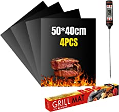 VLVEE Set de 4 Tapis de Cuisson Tapis BBQ Barbecue Plaque Feuille de Cuisson Four,Réutilisable Nettoyable, 40 * 50cm pour ...