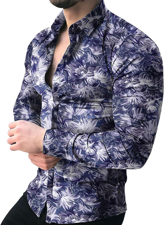 Huangse Men's Hawaiian Flower Print Shirt Summer Casual Long Sleeve Button Down Lapel Shirt Beach Yoga Tops