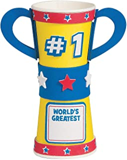 Fun Express World's Best Dad Trophy Treat Cup Craft Kit (Makes 12) Fathers Day Crafts