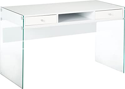 Writing Desk with Glass Sides Glossy White and Clear