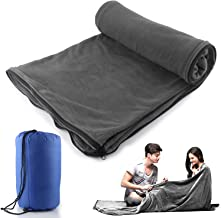 Sleeping Bag Liner Blanket Microfiber Fleece Travel Camping Sheet Zippered Ultralight Warm Roomy Cozy for Home Travel Hotel Airplane with Carry Storage Bag