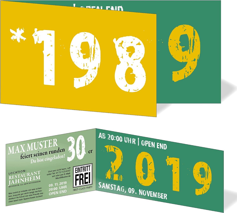 Runder Geburtstag Einladungskarten 30 Jahre Geburtstagseinladungen - - - Zeitsprung Einladung für runden Geburtstag 30er Feier Grün - Gelb (50) B07NY33YGW | Feinbearbeitung  0dc449