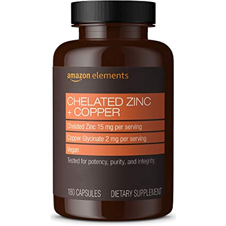 Amazon Elements Chelated Zinc + Copper, 15 mg Chelated Zinc, 2 mg Copper Glycinate - Immune System Support -180 Capsules (6 month supply)