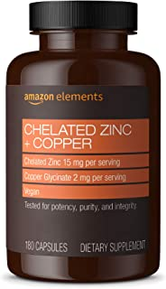 Amazon Elements Chelated Zinc + Copper, 15 mg Chelated Zinc, 2 mg Copper Glycinate - Immune System Support -180 Capsules (...