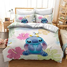 MULMF Bedding Set Queen Size Bedding Set Duvet Quilt Cover Set Lilo & Stitch Duvet Cover Sheet Pillowcase 3PCS
