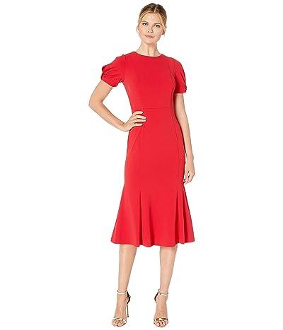 Calvin Klein Knot Sleeve Midi Dress (Red) Women