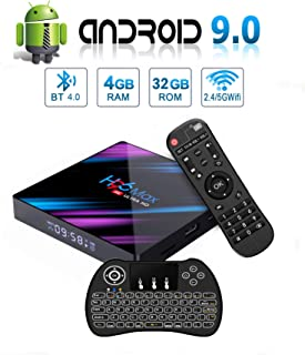 H96 MAX Android 9.0 TV Box, EstgoSZ 4GB+32GB Android Box with Backlit Wireless Keyboard USB 3.0 BT 4.0 Dual WiFi 2.4G 5G 3D H265 KD18.1 4K Smart Android TV Box